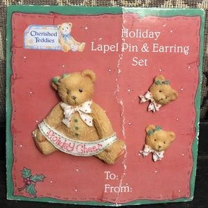 NOC Cherished Teddies Broach Earring Set